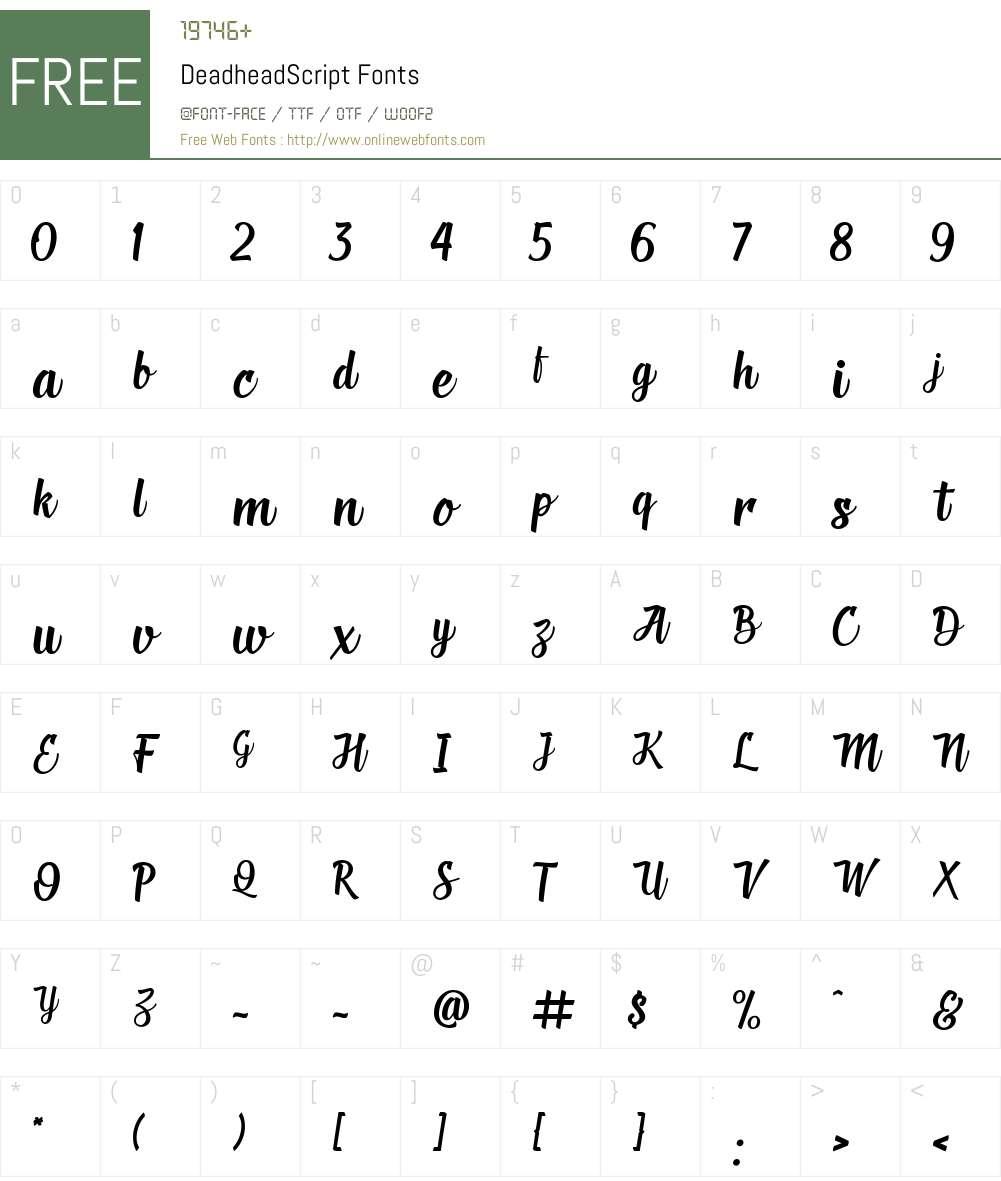 Deadhead Script Font Screenshots