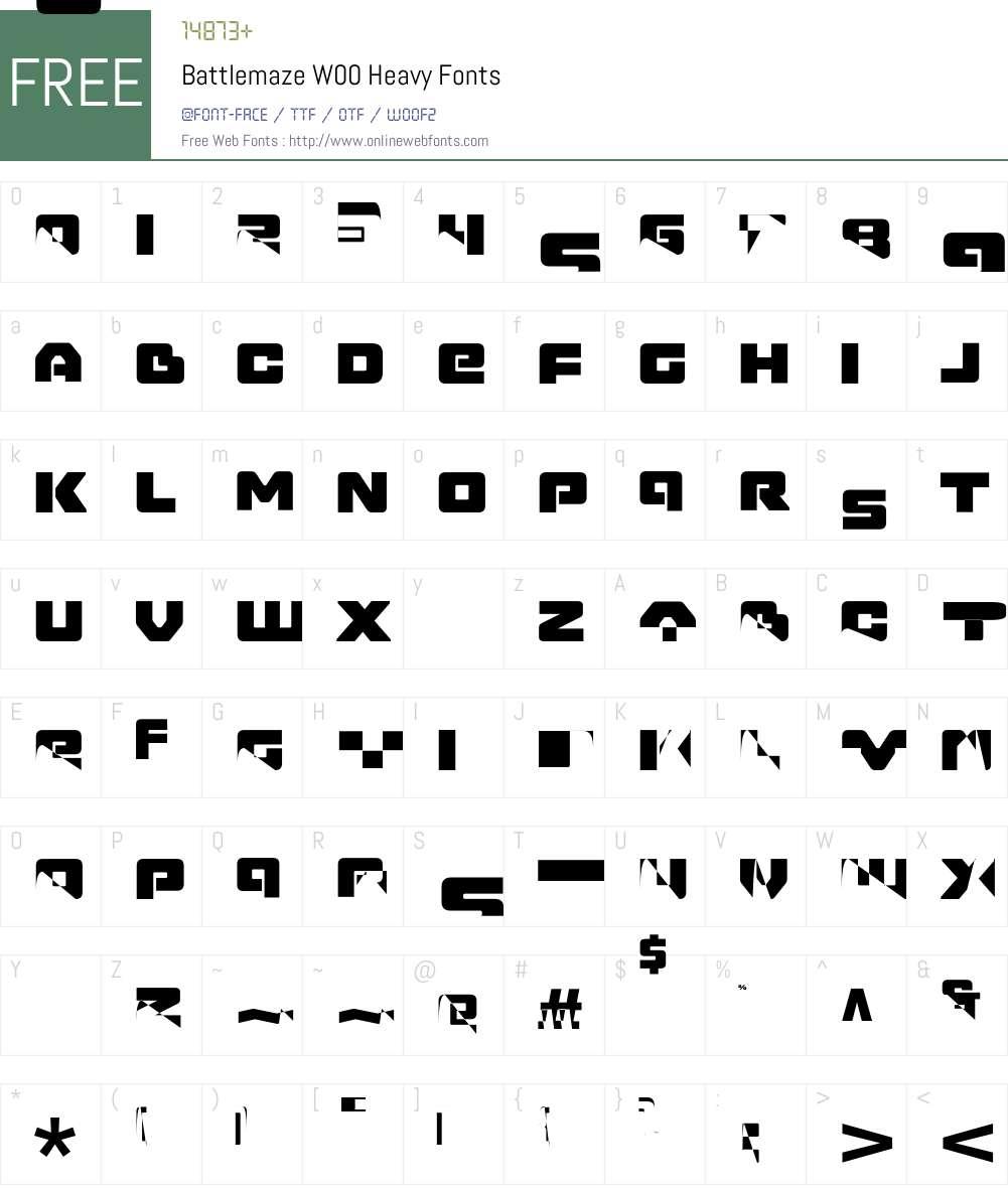 BattlemazeW00-Heavy Font Screenshots