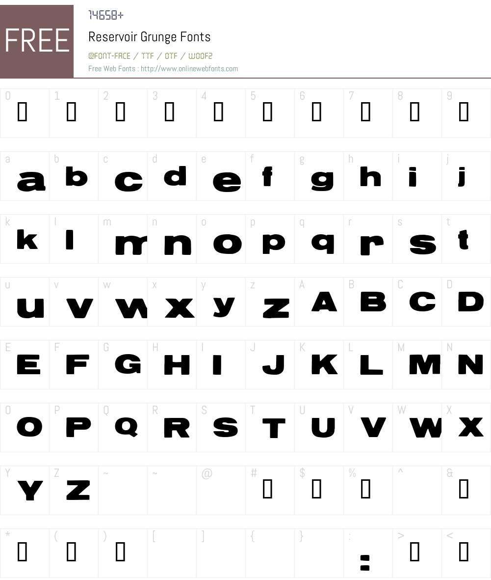 Reservoir Grunge Font Screenshots