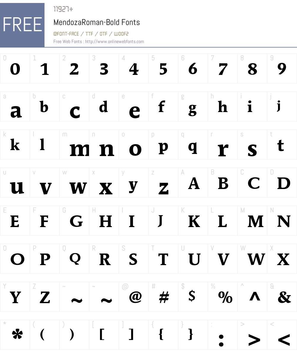 ITC Mendoza Roman Font Screenshots