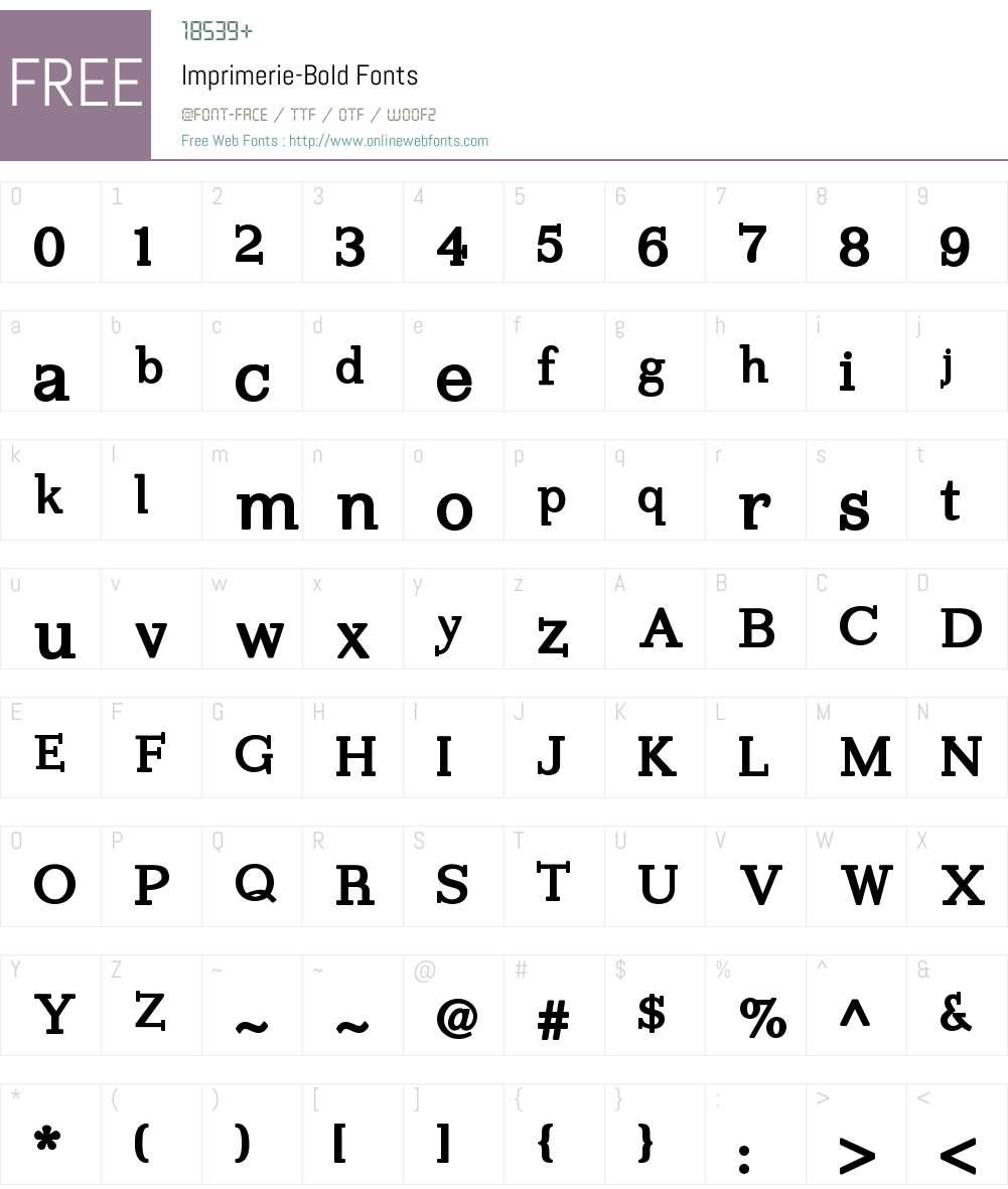 Imprimerie Font Screenshots