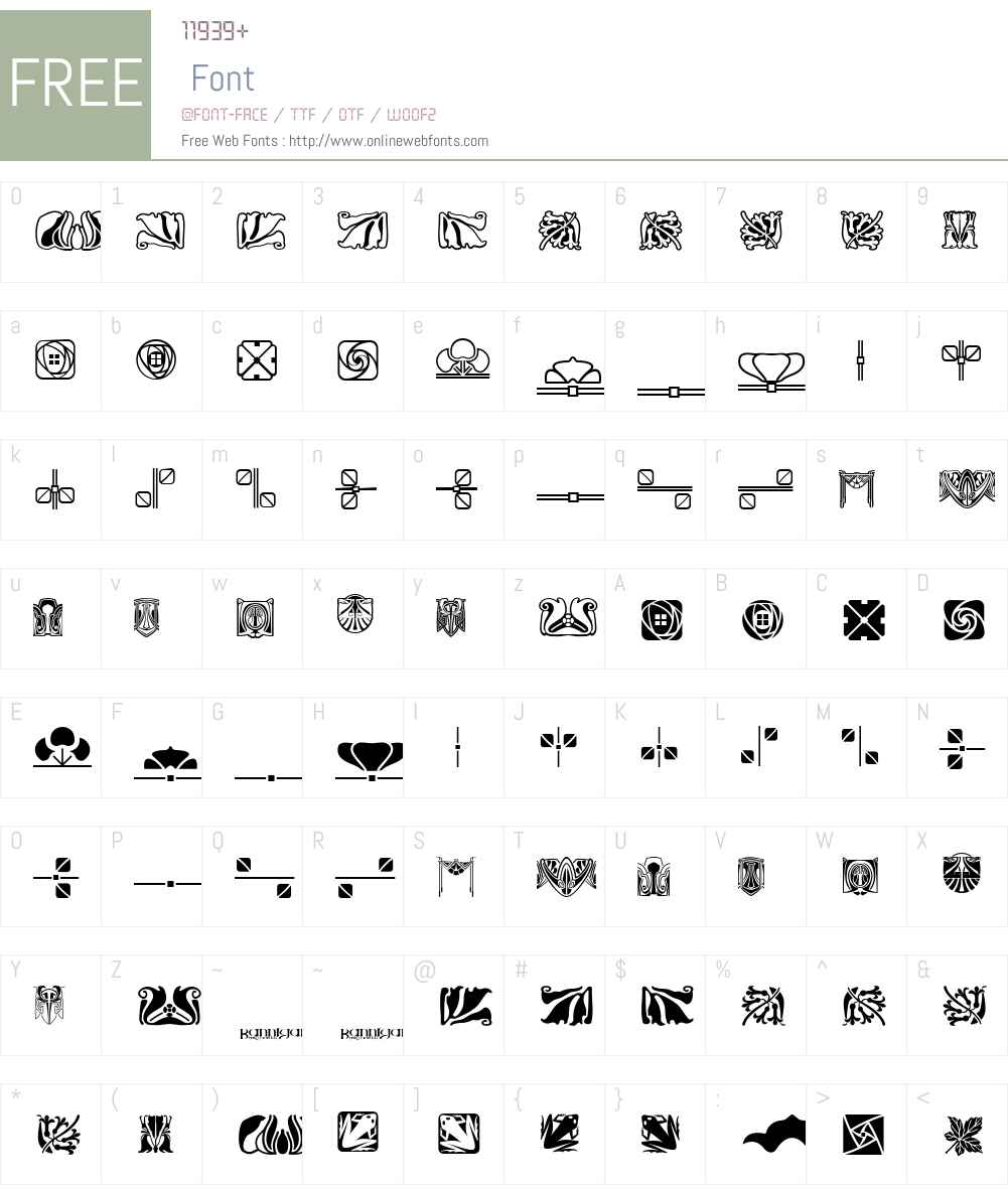 ArtsAndCraftsOrnamentsBAW Font Screenshots