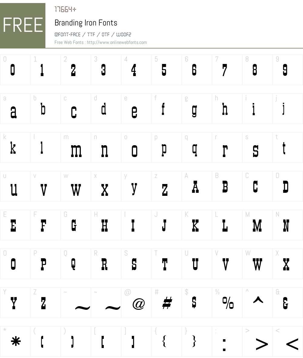 Branding Iron Font Screenshots