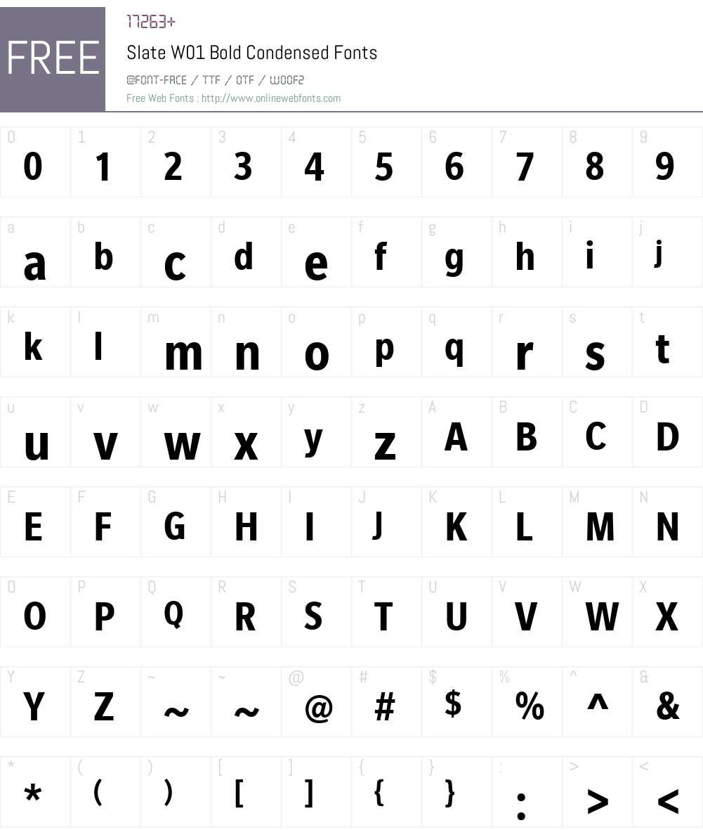 SlateW01-BoldCondensed Font Screenshots