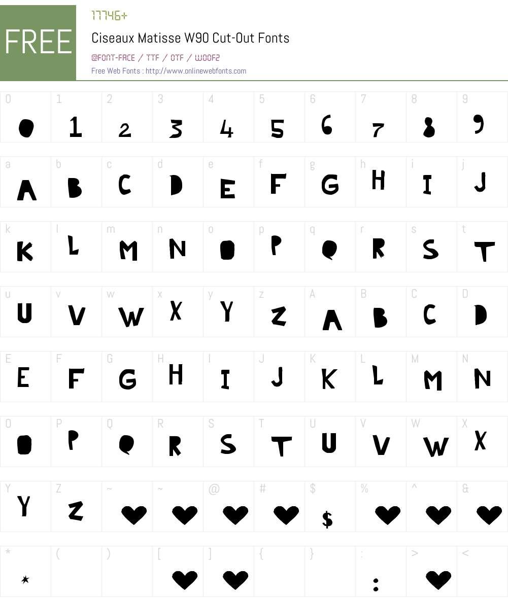 CiseauxMatisseW90-Cut-Out Font Screenshots