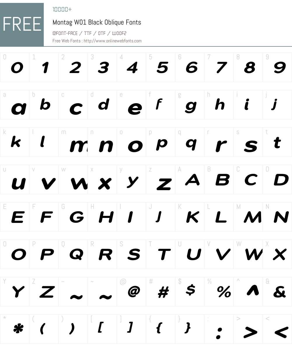 Montag Black Oblique Font Screenshots