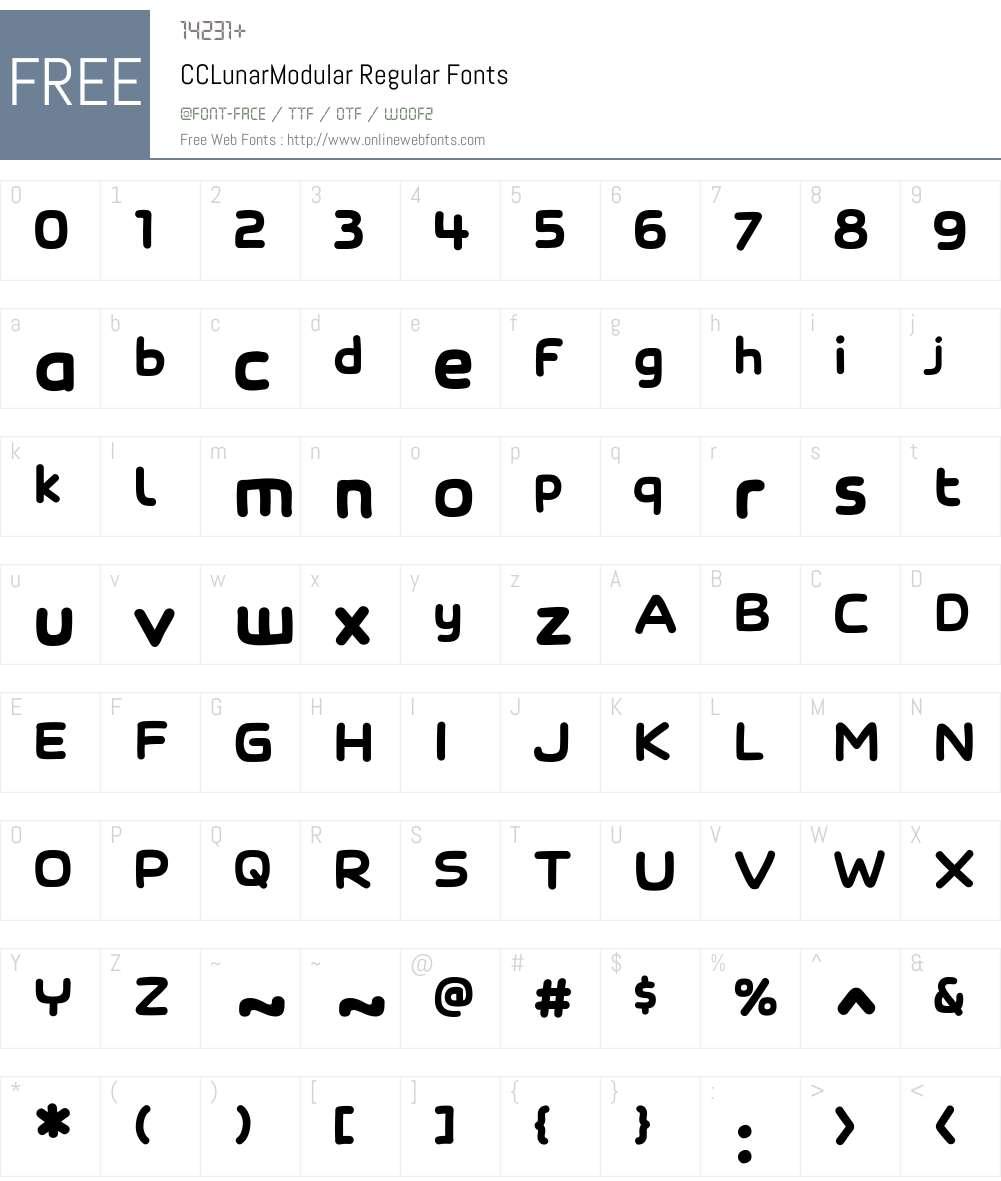 CCLunarModular-Regular Font Screenshots