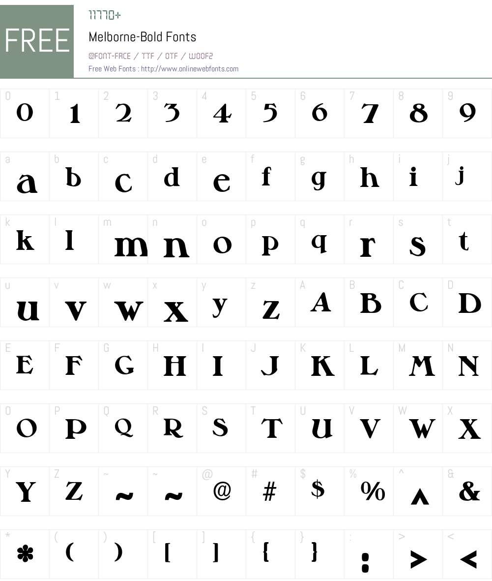 Melborne-Bold Font Screenshots