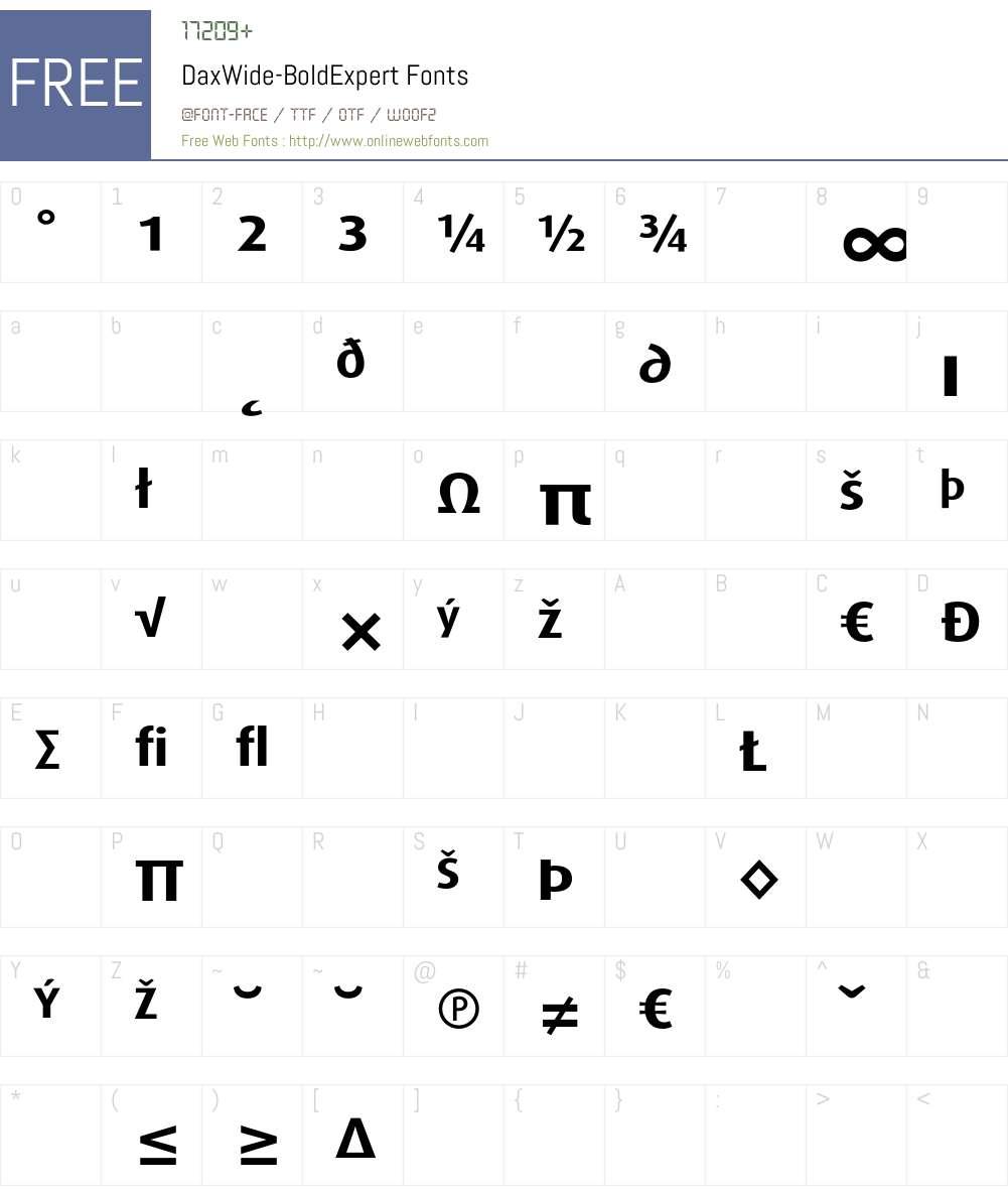 DaxWide Font Screenshots