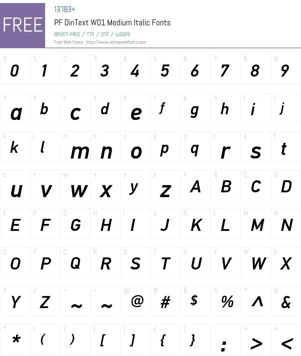 PFDinTextW01-MediumItalic Font Screenshots