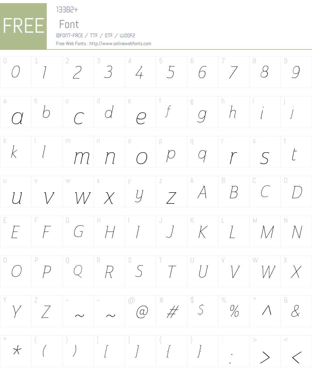 AinslieW01-CondThinItalic Font Screenshots