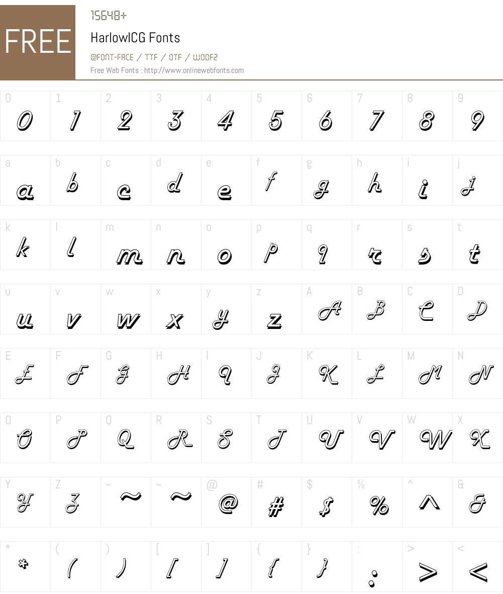 HarlowICG Font Screenshots
