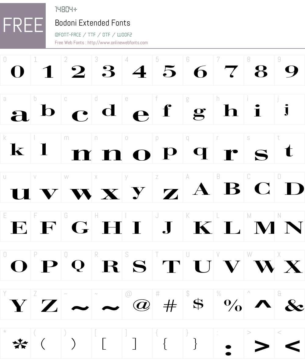 Bodoni Extended Font Screenshots