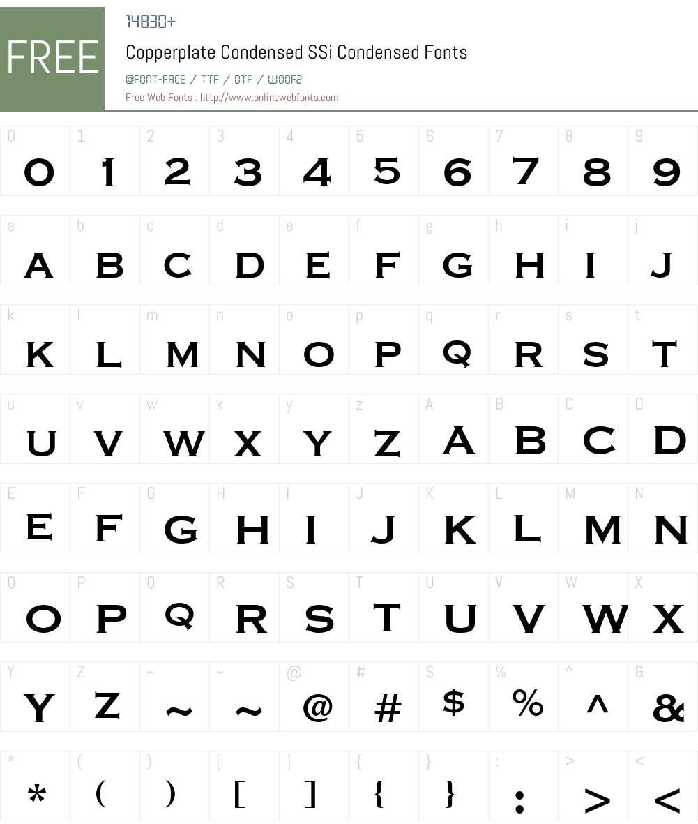 Copperplate Condensed SSi Font Screenshots