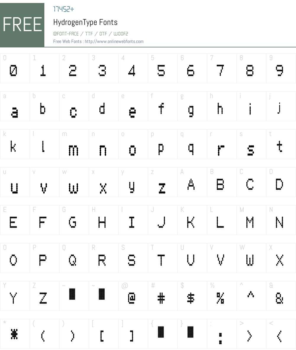 HydrogenType Font Screenshots