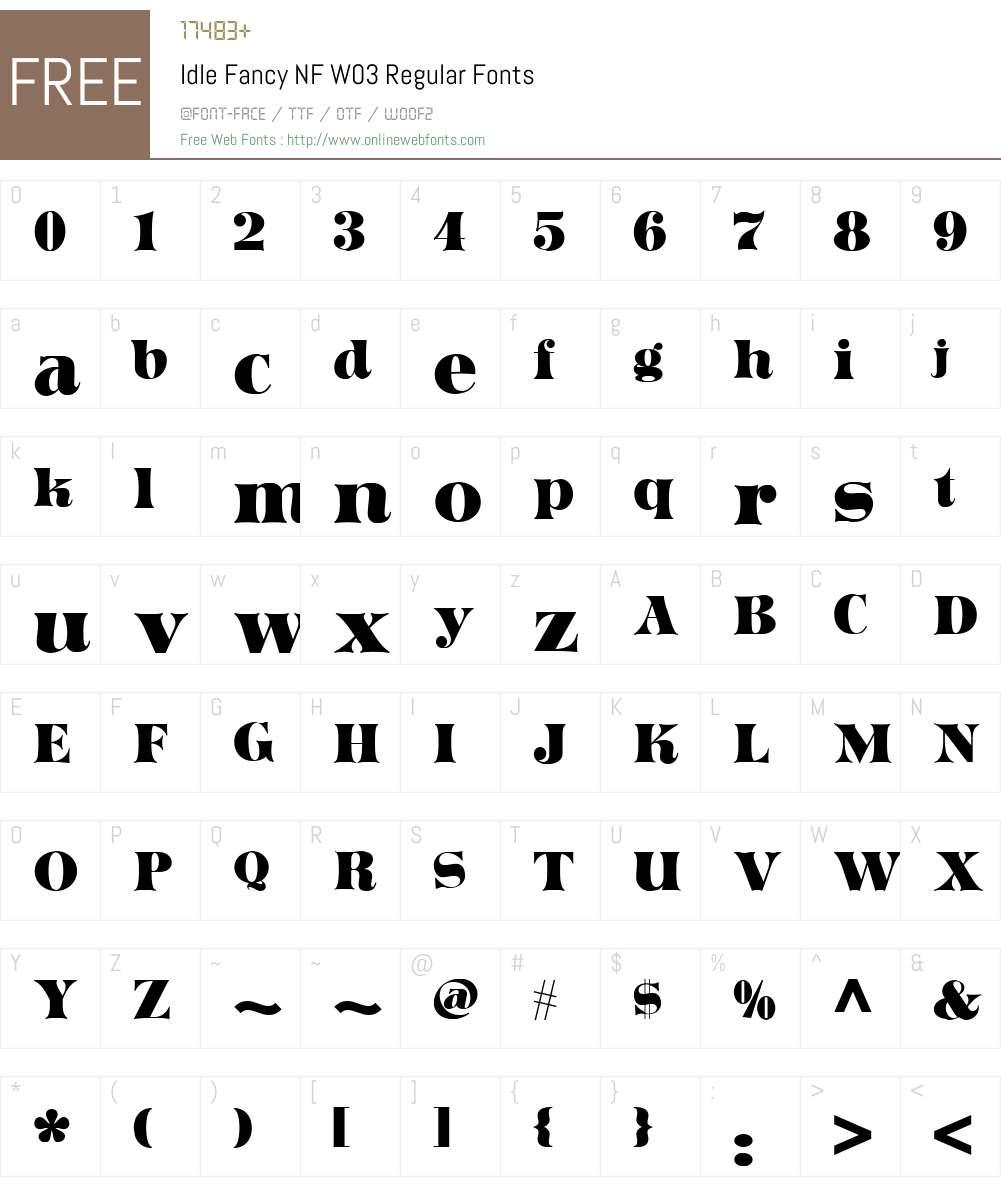 IdleFancyNFW03-Regular Font Screenshots