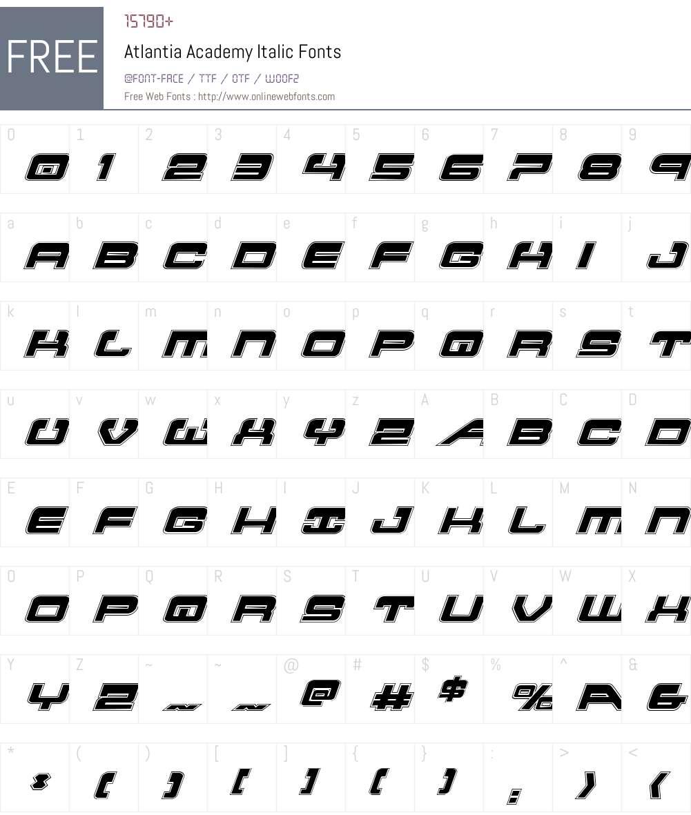 Atlantia Academy Italic Font Screenshots
