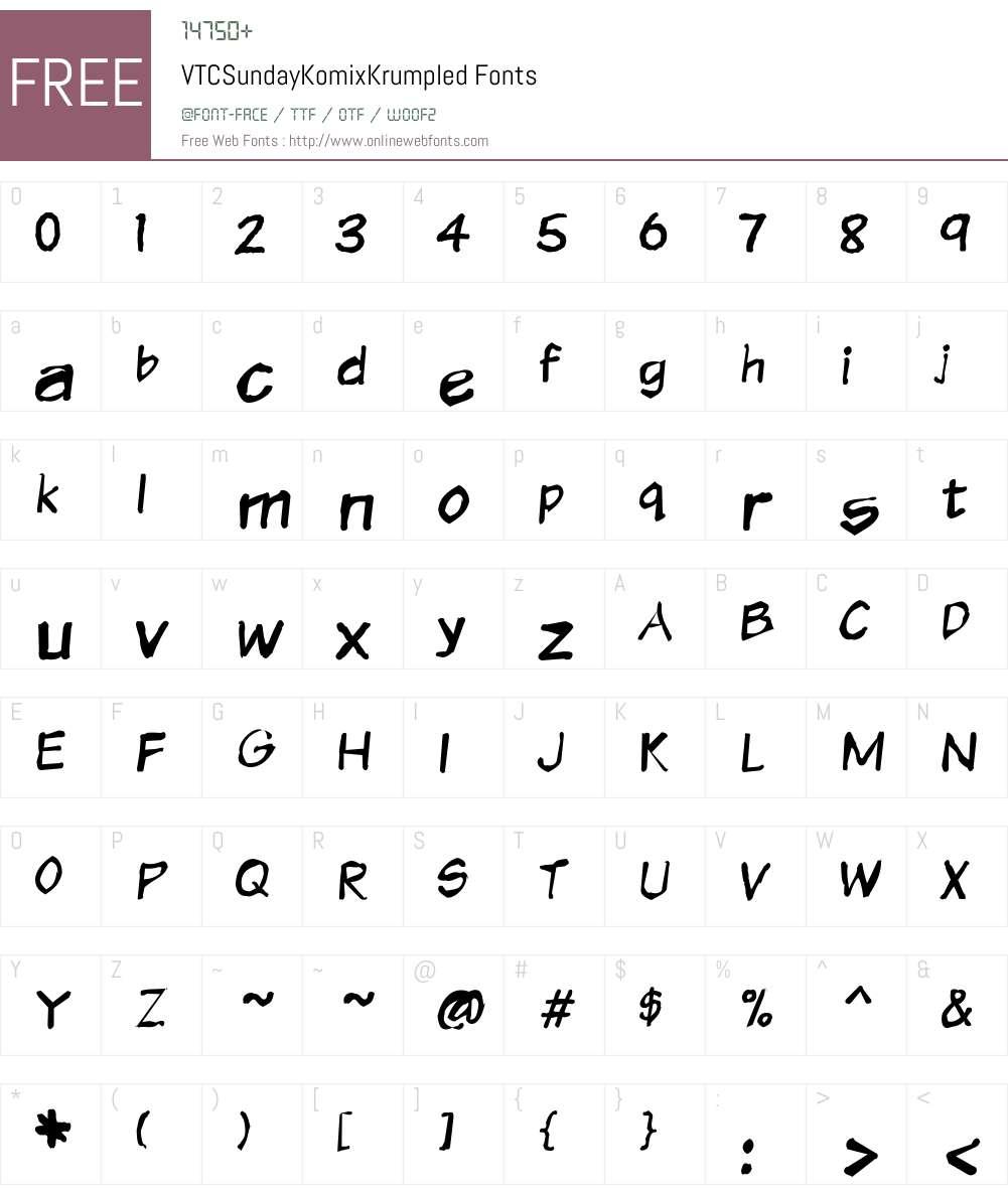 VTCSundayKomixKrumpled Font Screenshots