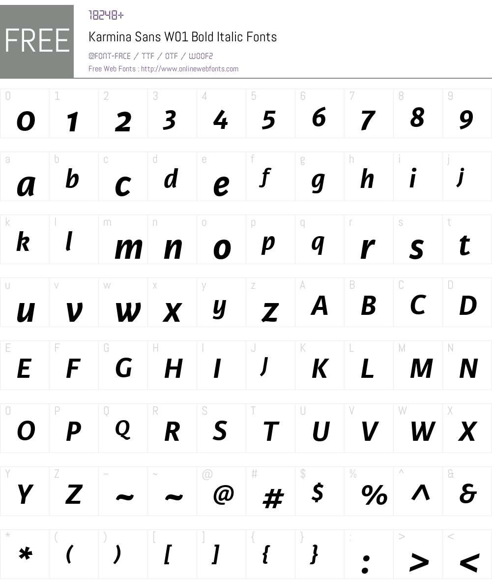 KarminaSansW01-BoldItalic Font Screenshots