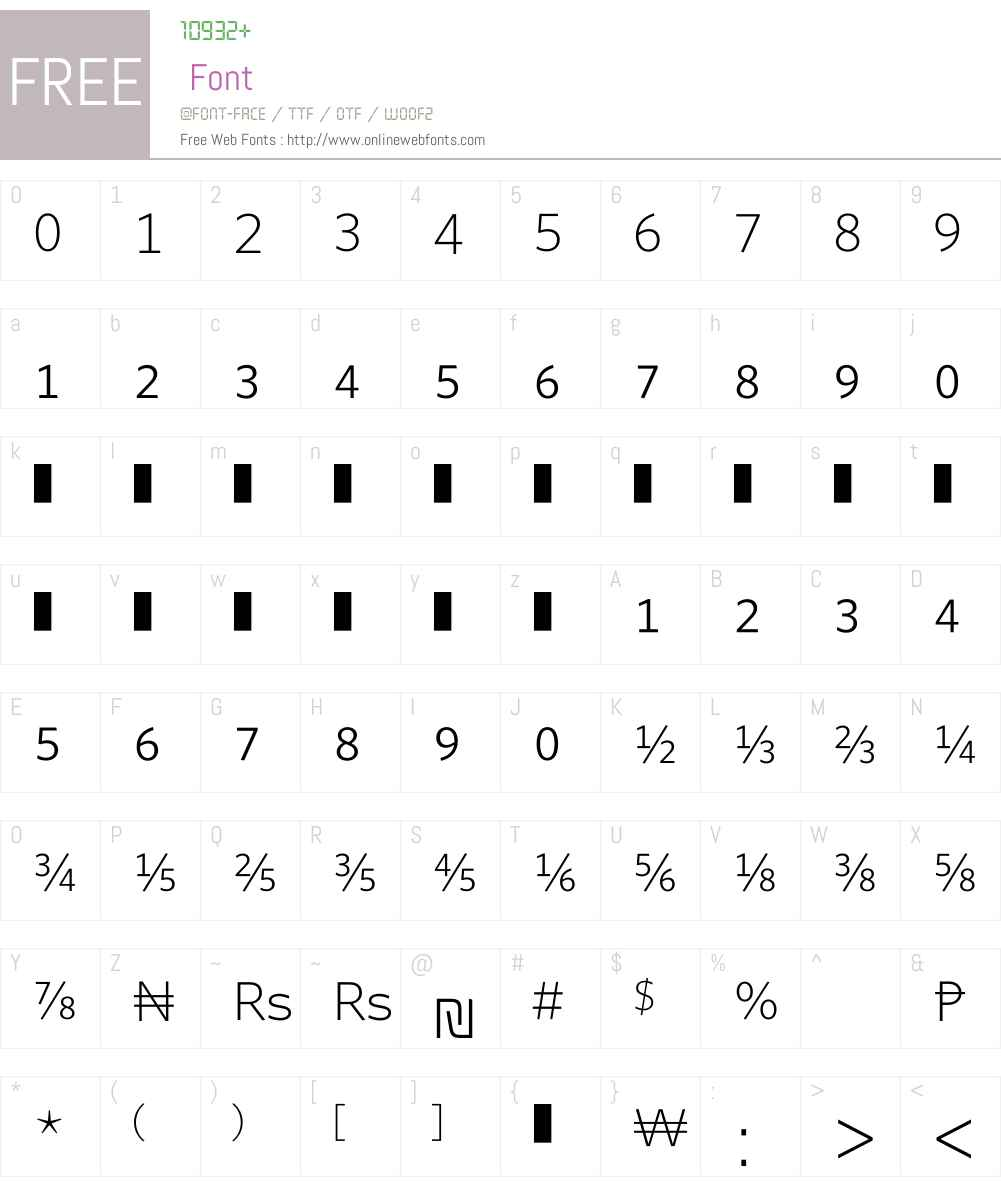 WhitneyNumeric Font Screenshots