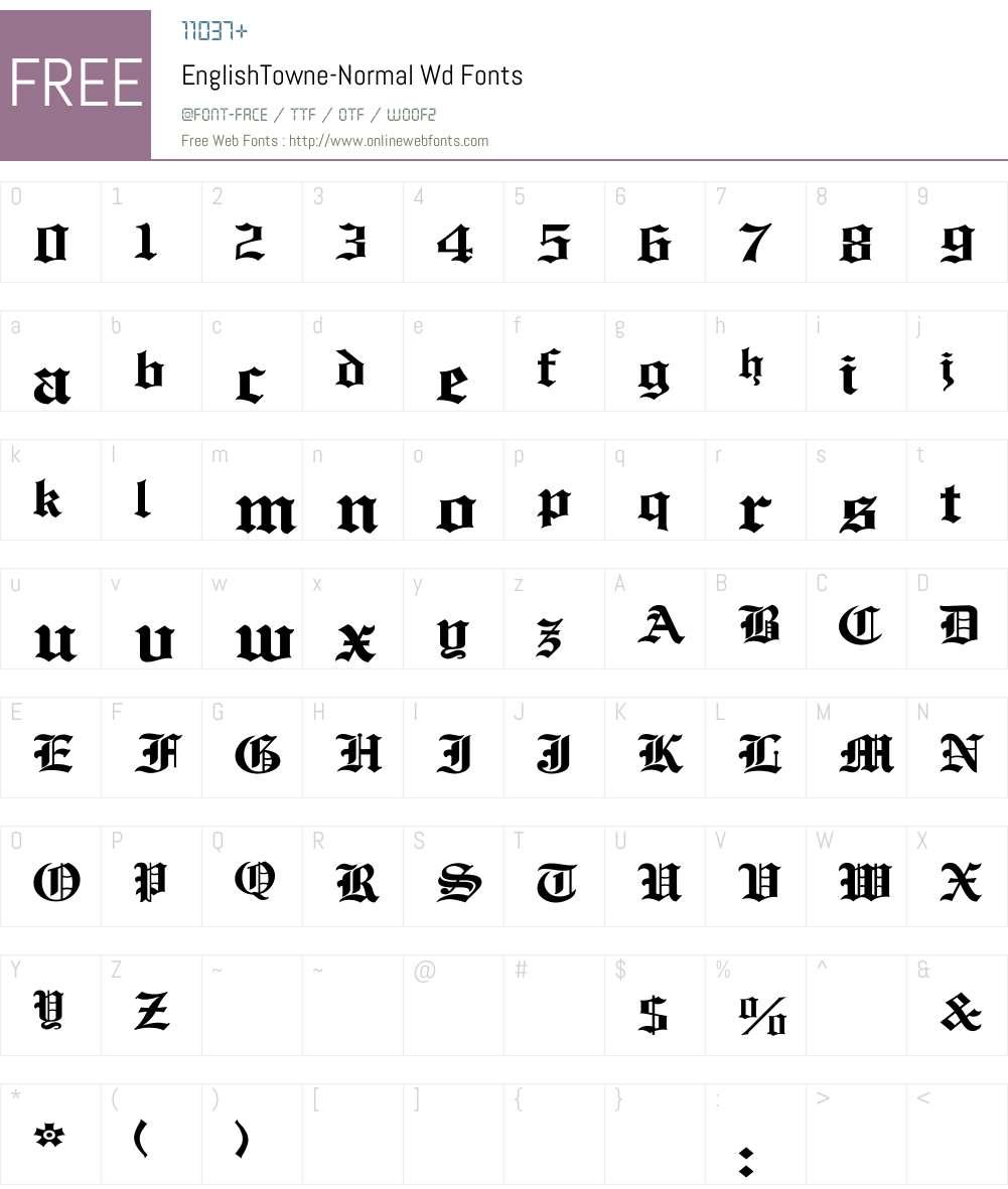 EnglishTowne-Normal Wd Font Screenshots