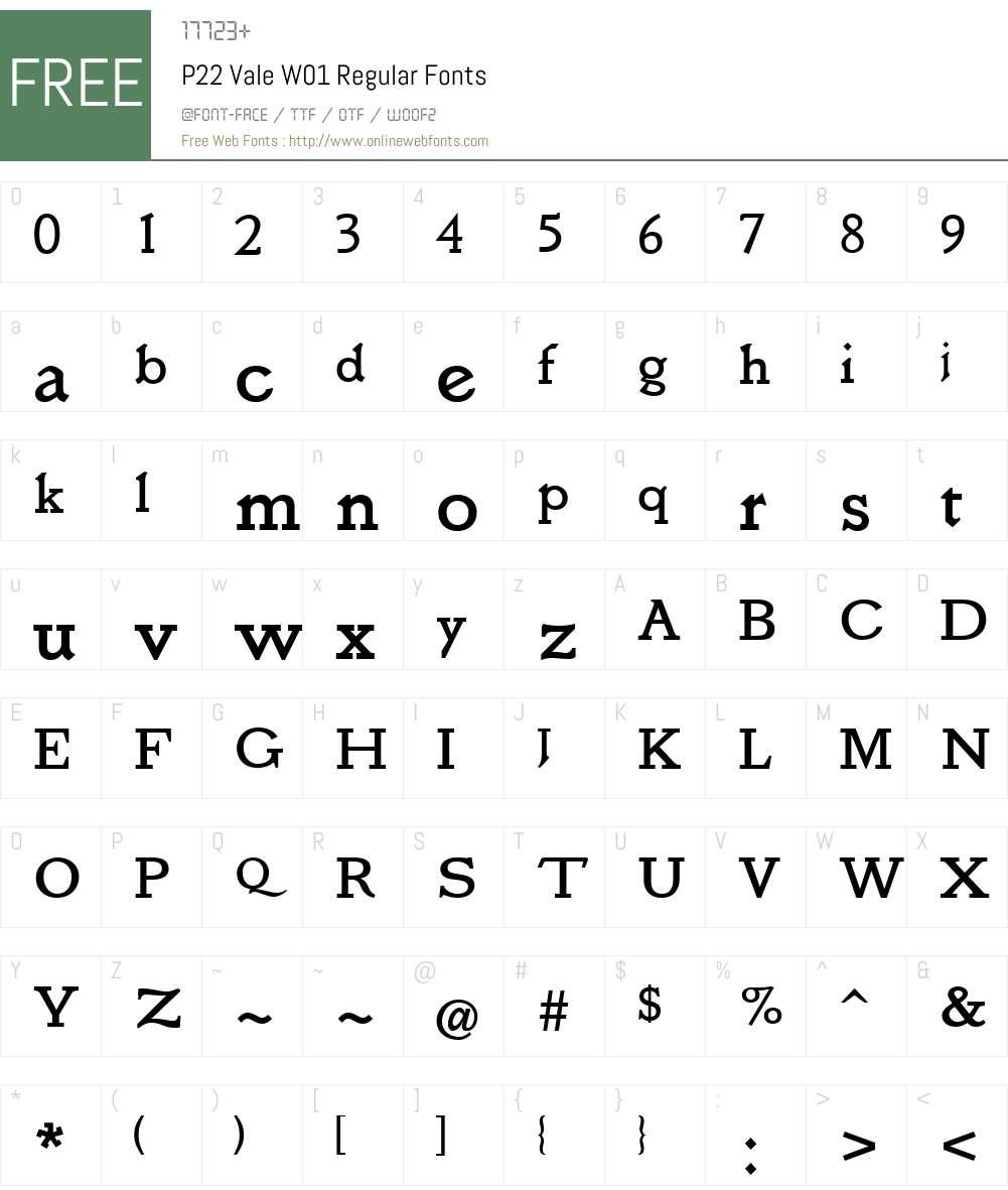 P22ValeW01-Regular Font Screenshots