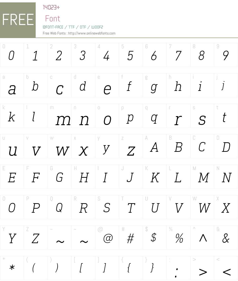 DINNextSlabW01-LightItalic Font Screenshots