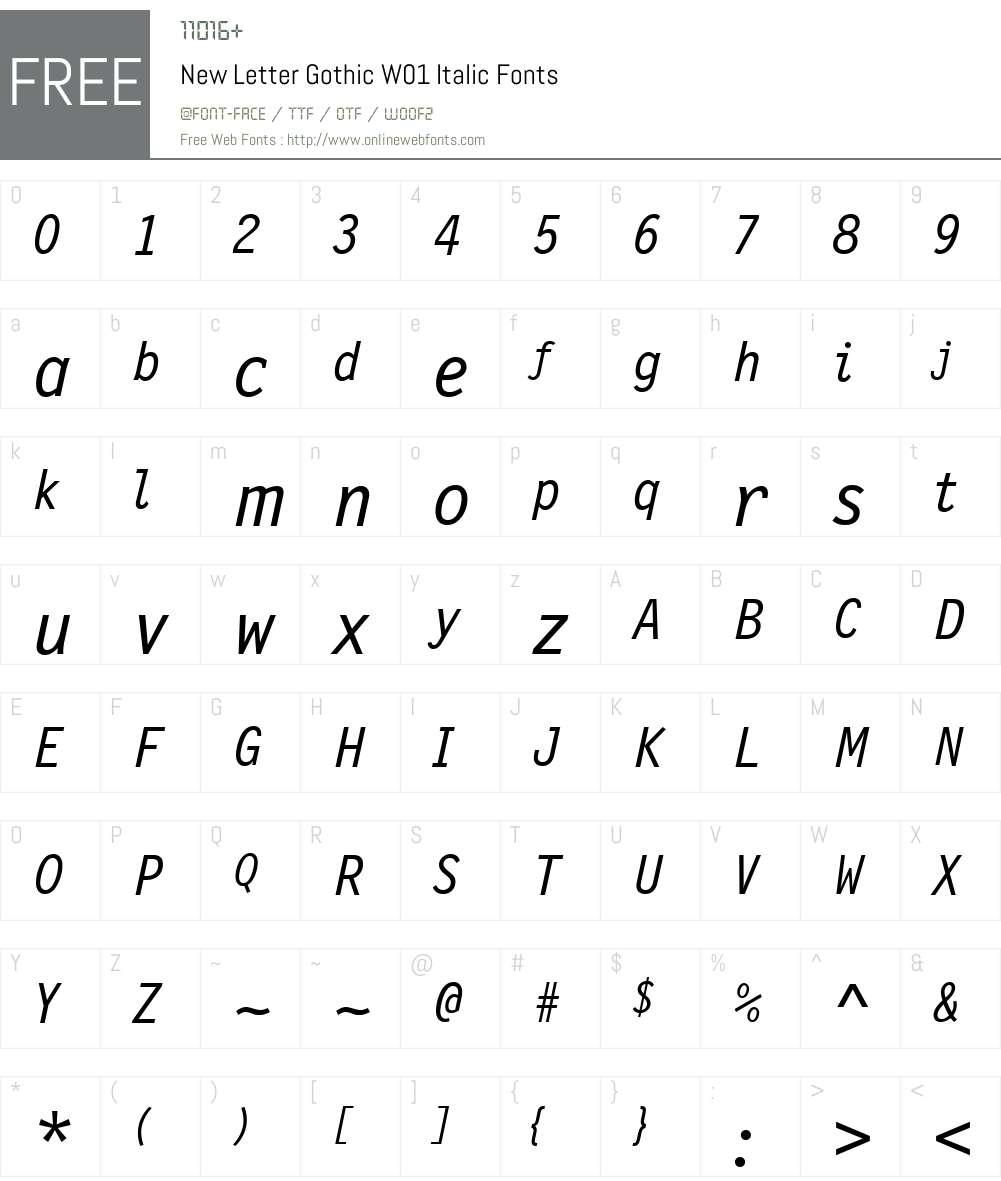 NewLetterGothicW01-Italic Font Screenshots