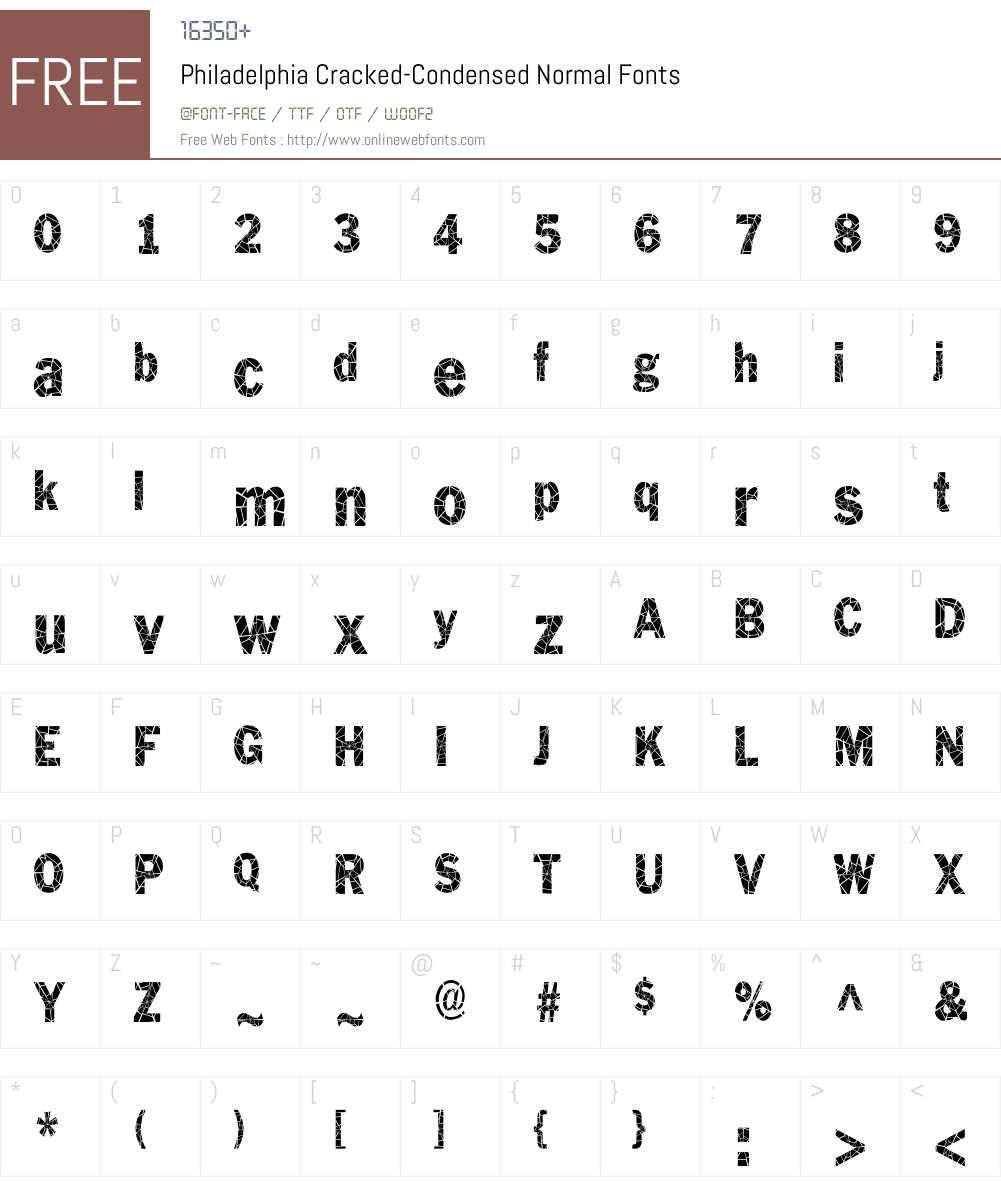 Philadelphia Cracked-Condensed Font Screenshots