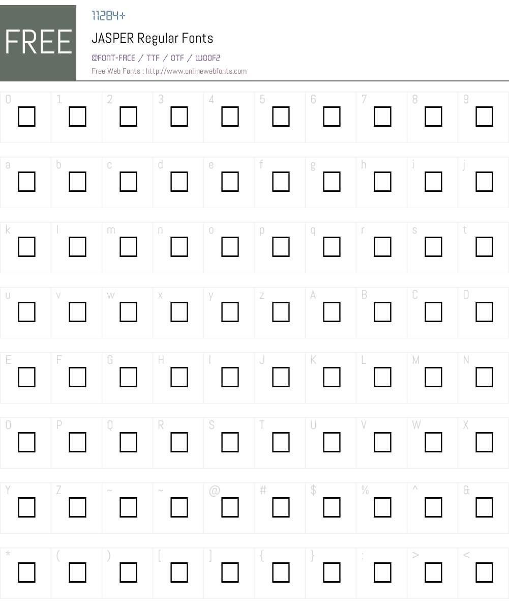JASPER Font Screenshots