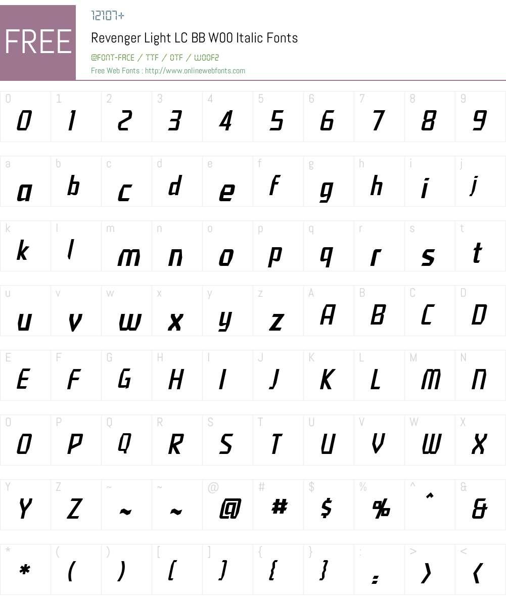 RevengerLightLCBBW00-Italic Font Screenshots