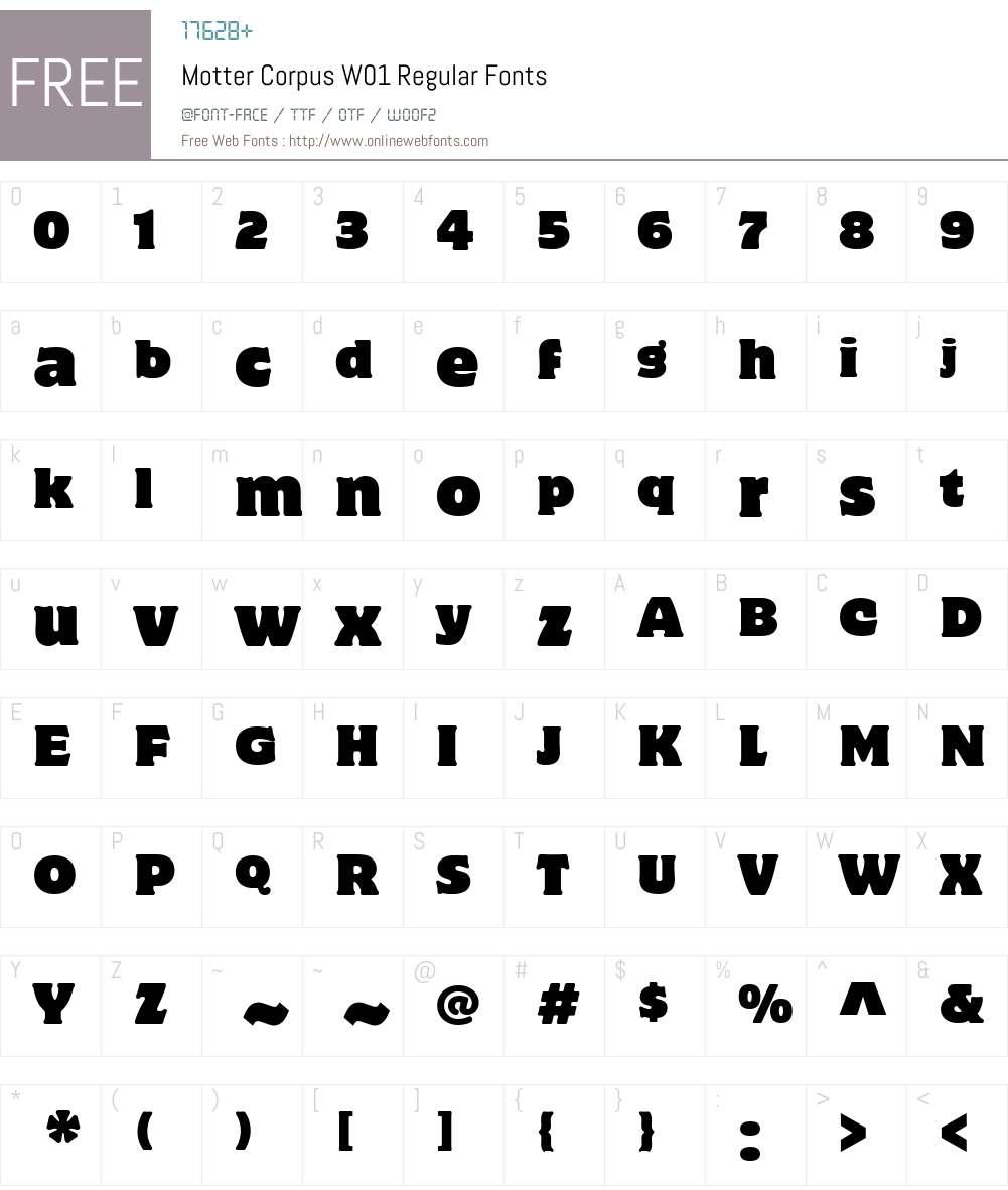 MotterCorpusW01Reg Font Screenshots