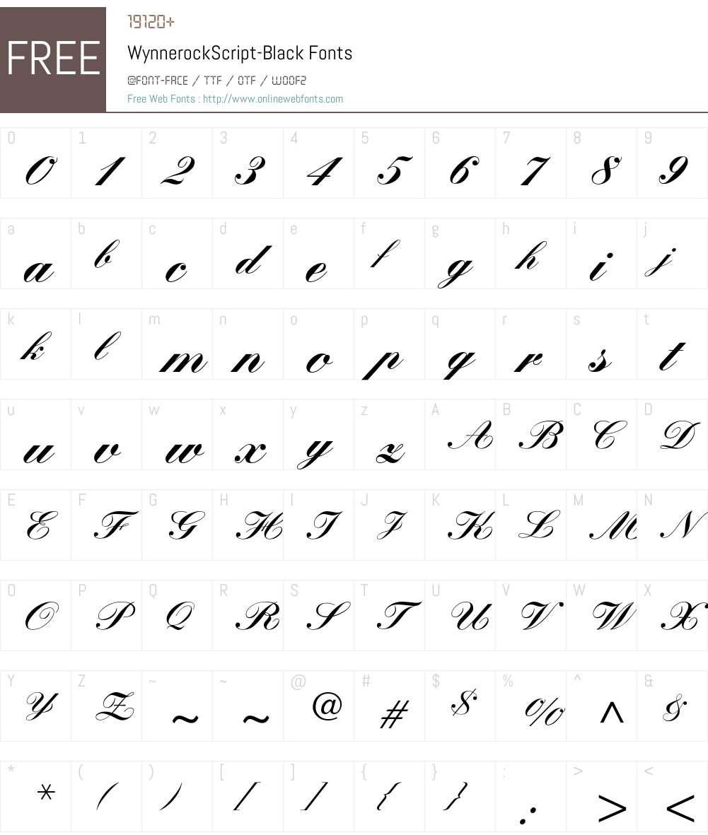 WynnerockScript-Black Font Screenshots