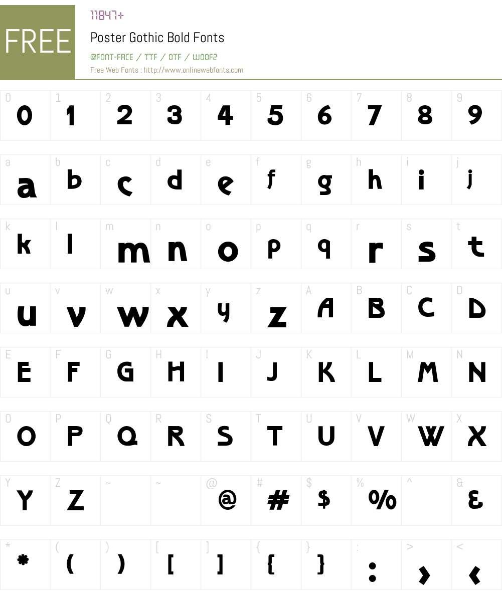 PosterGothicBold Font Screenshots