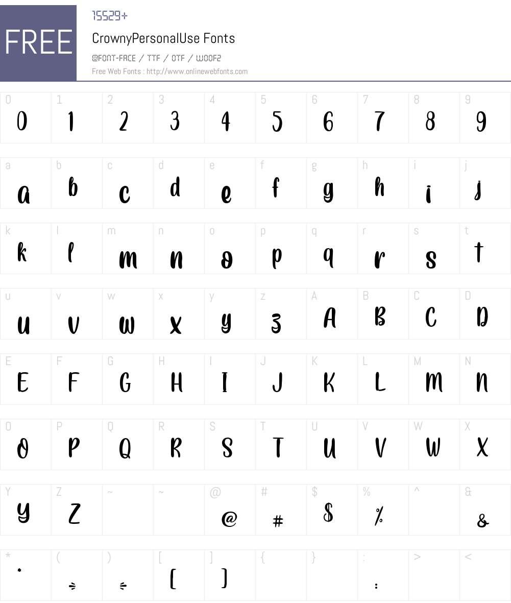 Crowny - Personal Use Font Screenshots