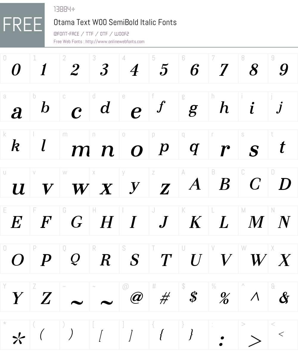 OtamaTextW00-SemiBoldIt Font Screenshots