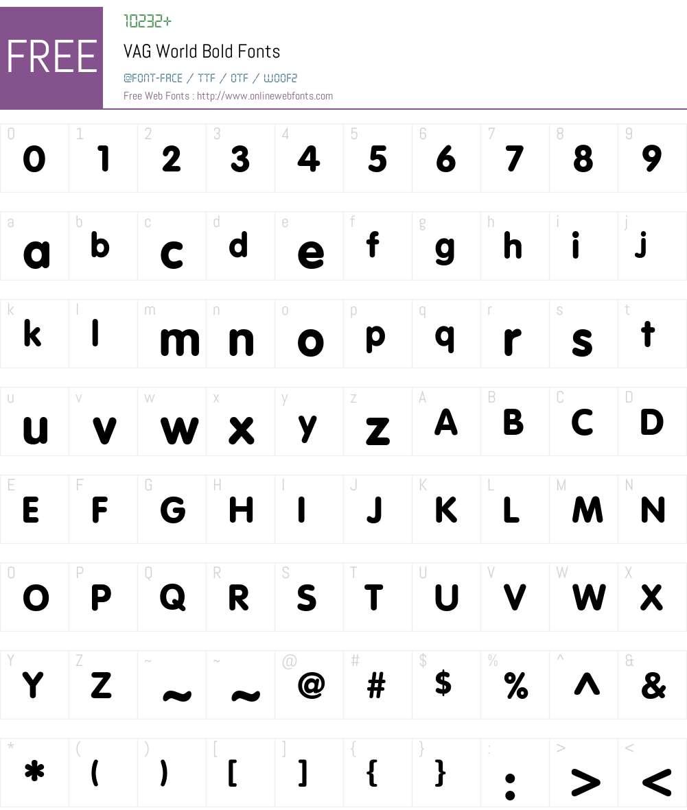 VAG World Font Screenshots