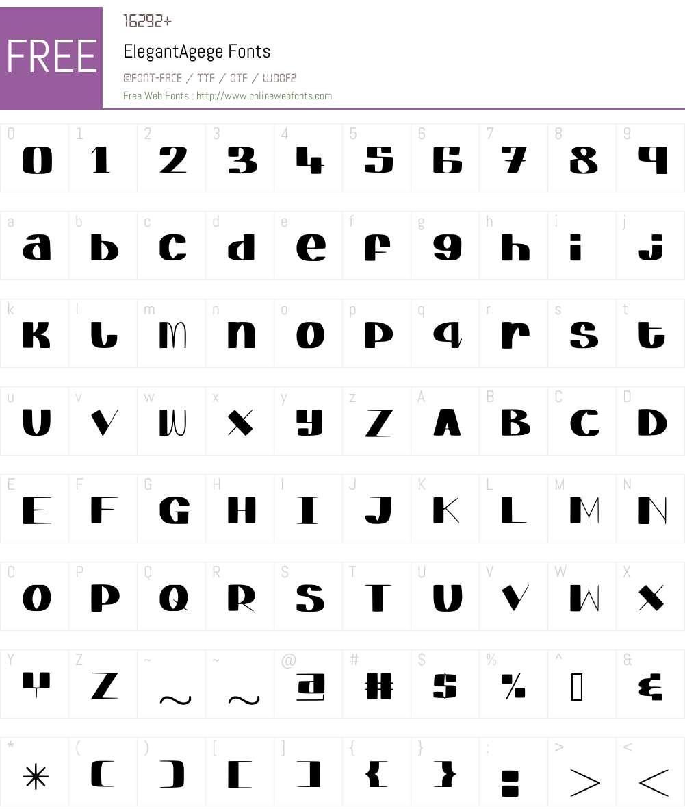 ElegantAgege Font Screenshots