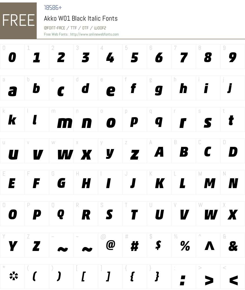 AkkoW01-BlackItalic Font Screenshots