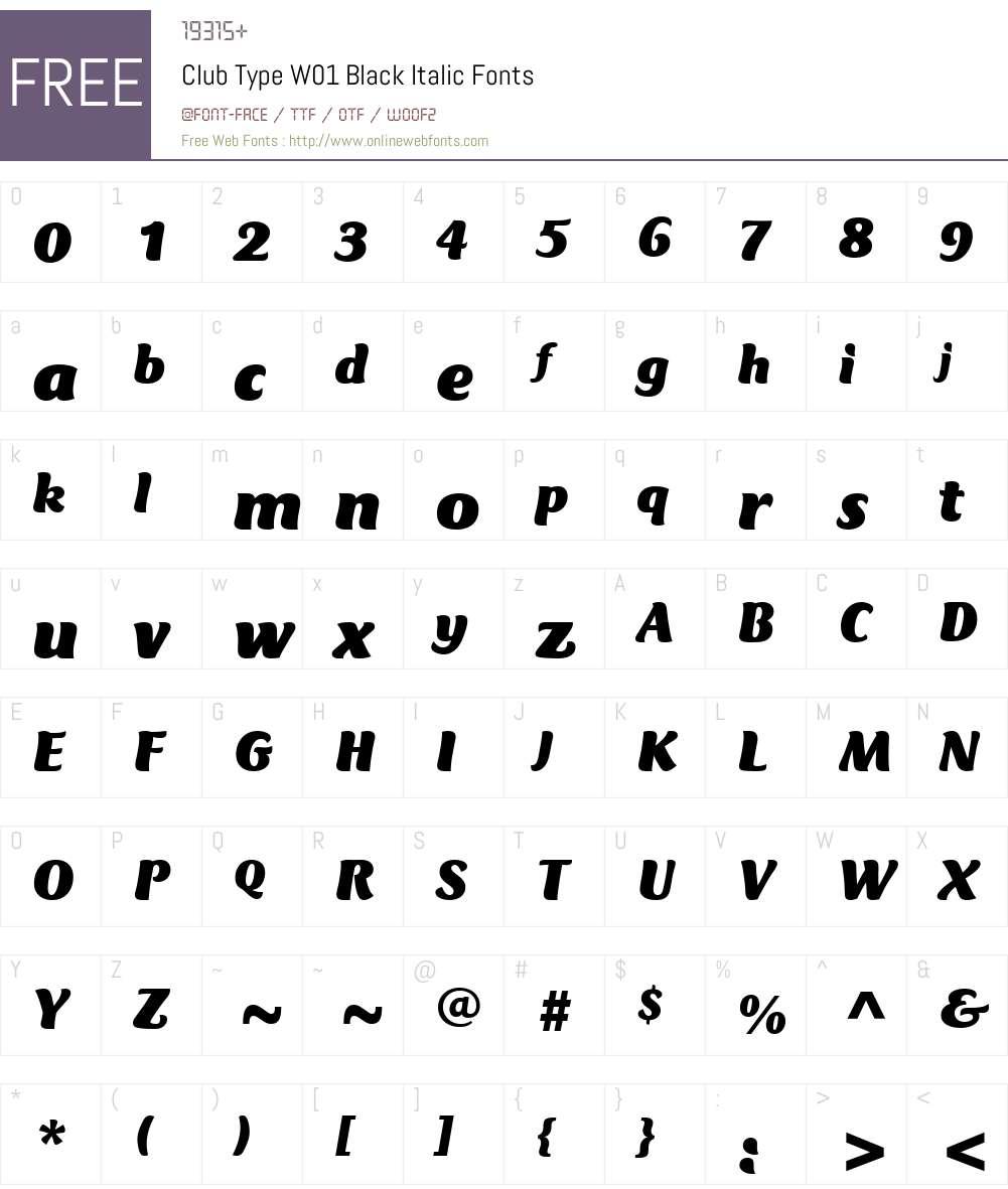 ClubTypeW01-BlackItalic Font Screenshots