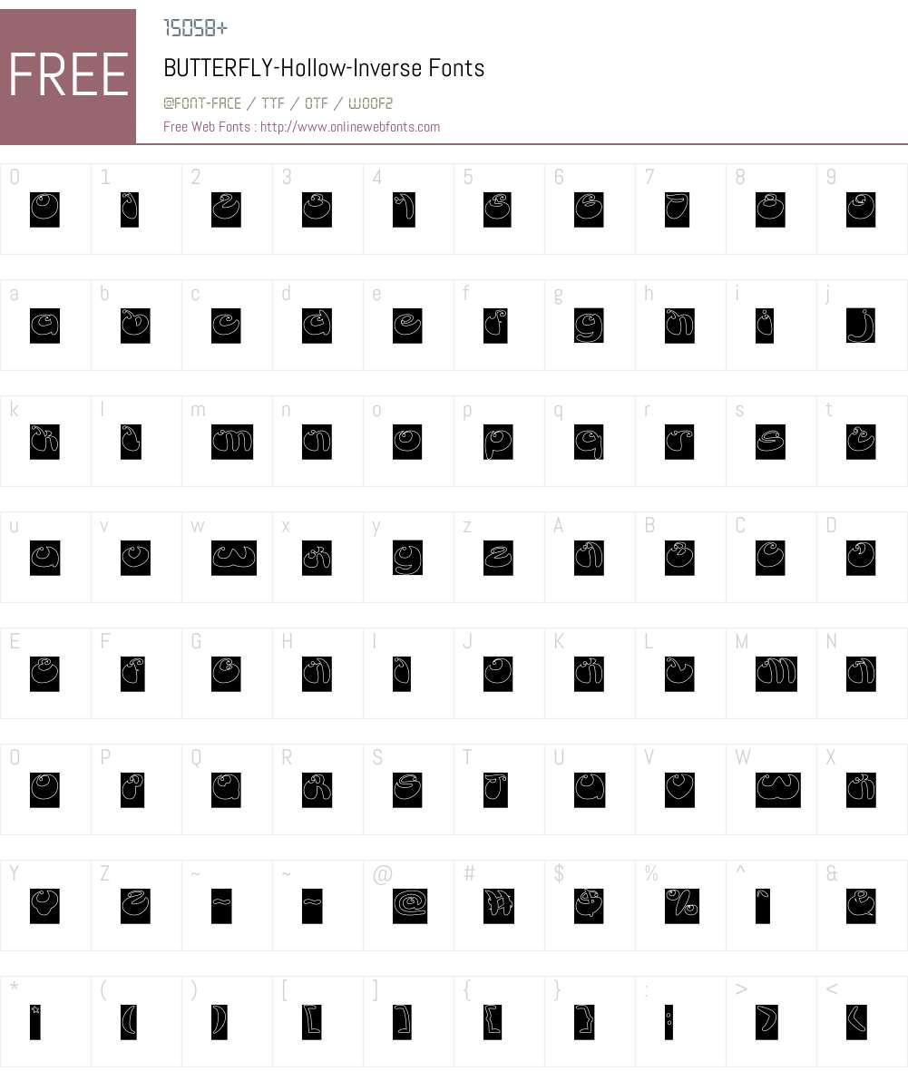 BUTTERFLY-Hollow-Inverse Font Screenshots