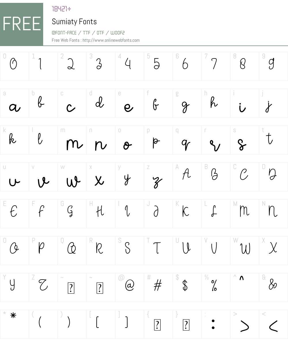 Sumiaty Font Screenshots