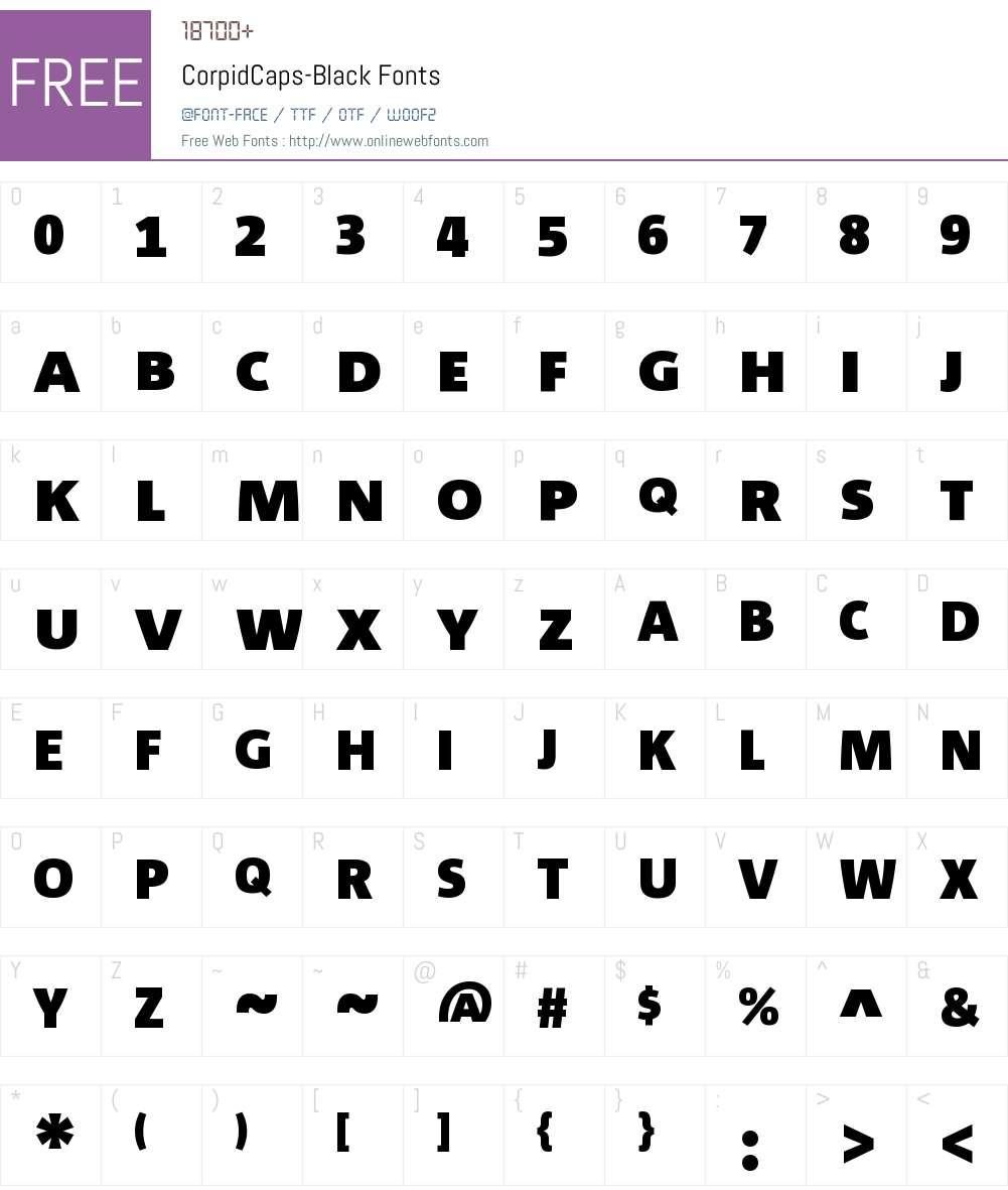 Corpid Caps Black Font Screenshots