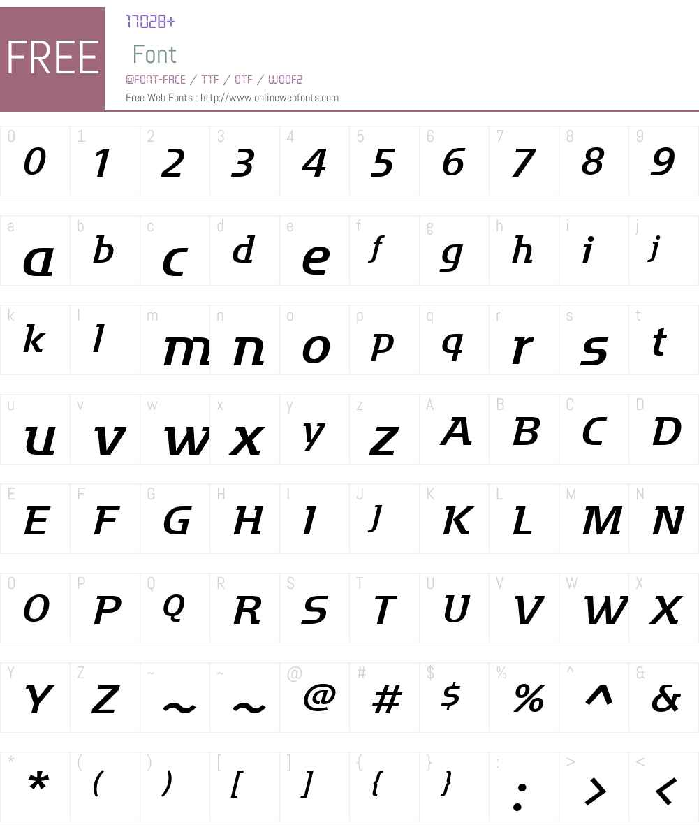 MotterFactumW01-Italic Font Screenshots