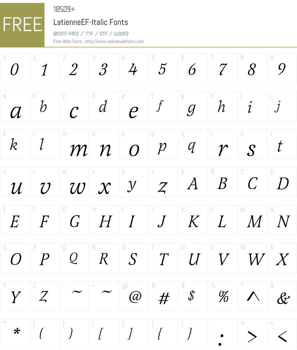 LatienneEF-Italic Font Screenshots