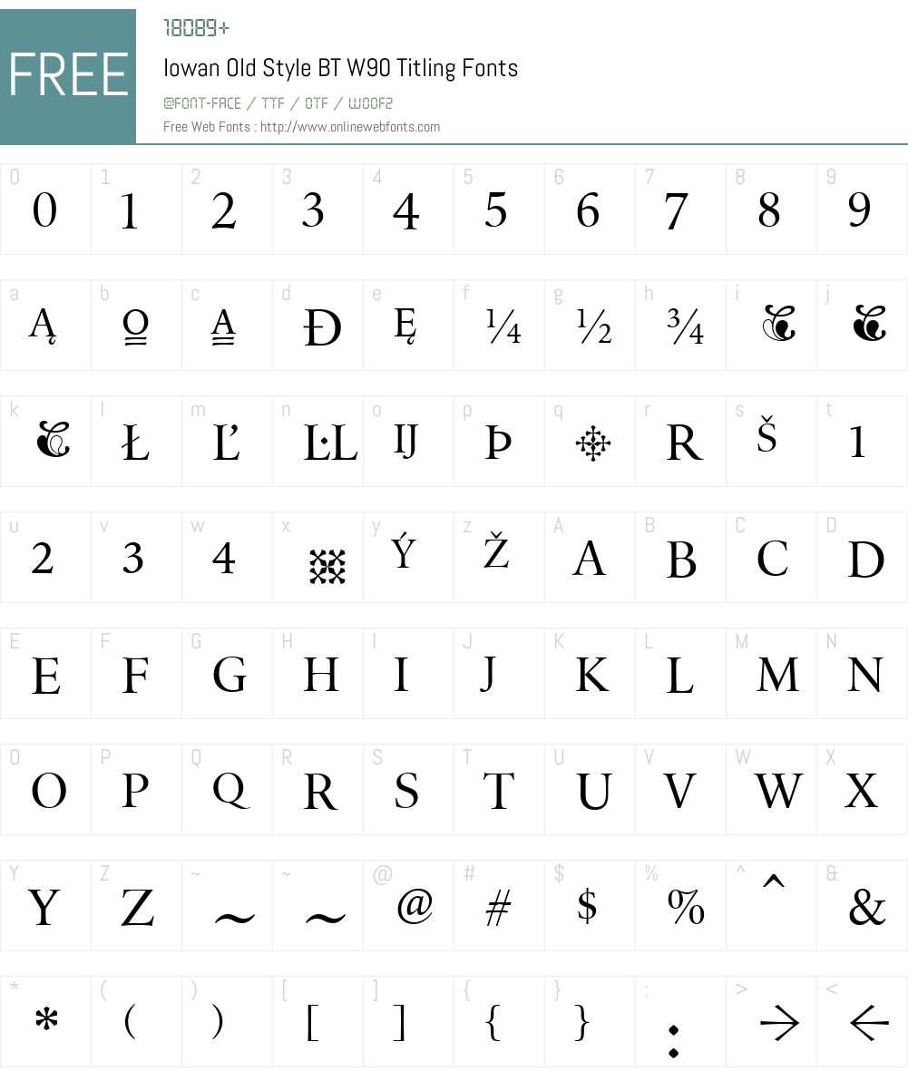 IowanOldStyleBTW90-Titling Font Screenshots
