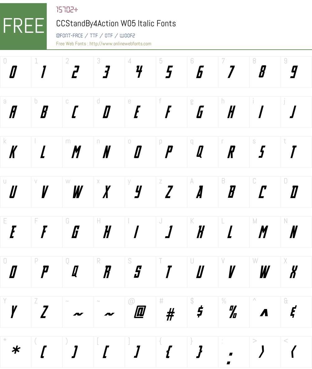CCStandBy4ActionW05-Italic Font Screenshots