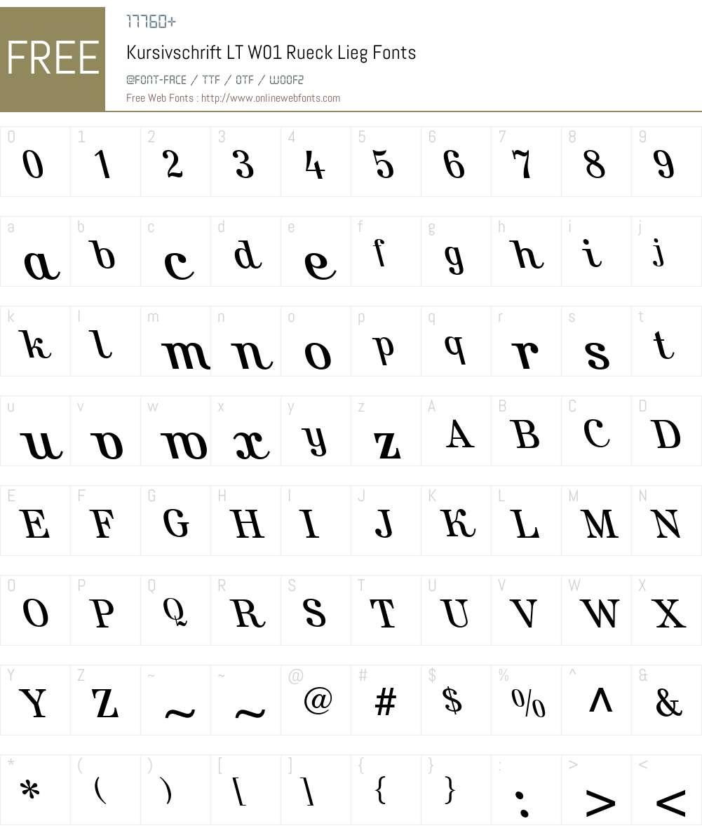KursivschriftLTW01-RckLieg Font Screenshots