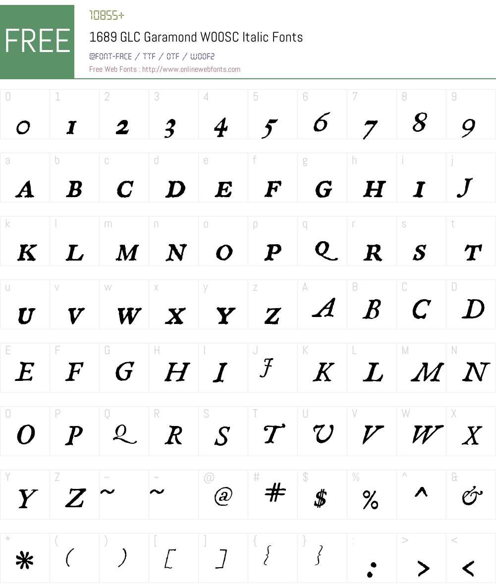 1689GLCGaramondW00SC-It Font Screenshots