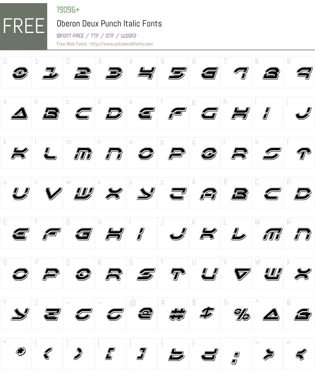 Oberon Deux Punch Italic Font Screenshots
